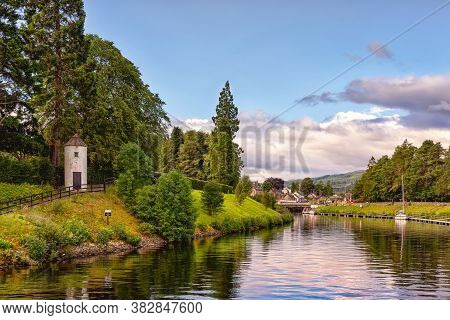 The Caledonian Canal In Scottish Countryside, United Kingdom. This 97 Km Long Canal Connects The Sco