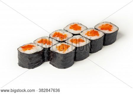 Sushi Maki On A White Plate. Sushi Roll Maki With Salmon Red Fish. For The Restaurant Menu. Close-up