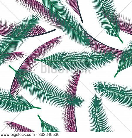 Tropical Feather Plumage Vector Seamless Pattern. Magic Wallpaper. Airy Natural Feather Plumage Fash