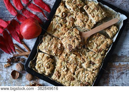 Homemade Fitness Cookies On A Baking Sheet. Healthy Diet Cookies. Homemade Oatmeal Cookies With Cinn