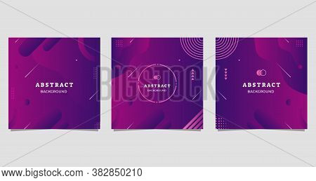 Set Of Minimalist Abstract Background With Fluid Purple Gradient Shape, Suitable For Social Media Po