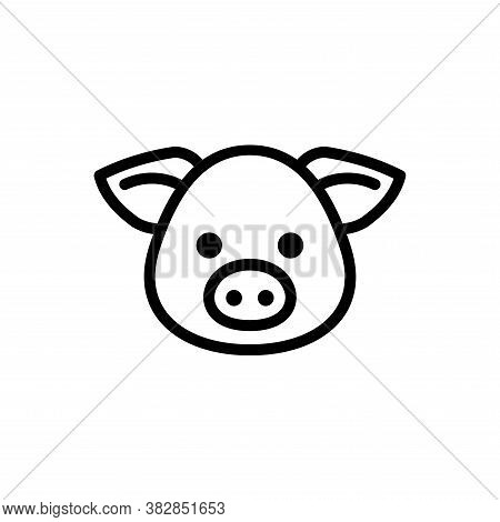 Vector Of Pig Head. Pig Icon Vector. Pig Icon Black On White Background. Pig Icon Simple And Modern