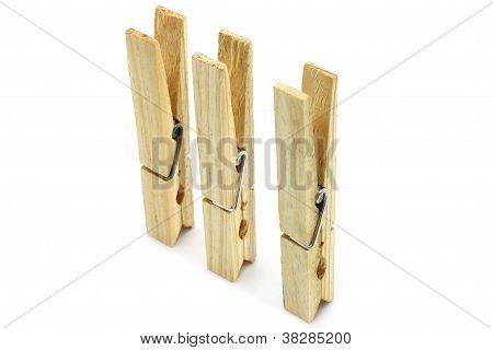 Three clothespins