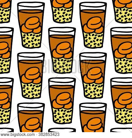 Traditional Chilean Drink Mote Con Huesillo Seamless Doodle Pattern, Vector Illustration