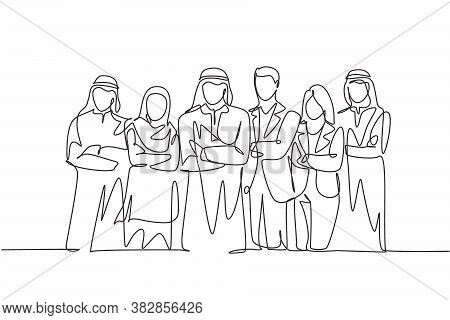 One Continuous Line Drawing Group Of Young Muslim And Multi Ethnic Businesspeople Line Up Neatly. Is
