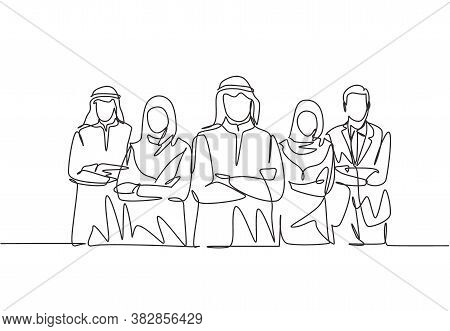 One Continuous Line Drawing Group Of Young Muslim And Multi Ehtnic Businessman Businesswoman Line Up