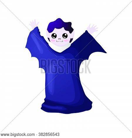 Cute Cartoon Vampire Character - Symbol Of Halloween. Vector Illustration Of Cute Count Vampire In D