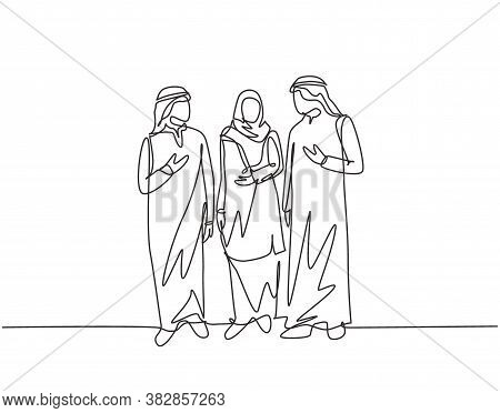 One Single Line Drawing Of Young Urban Muslim Commuter Walking Together At City Street. Saudi Arabia