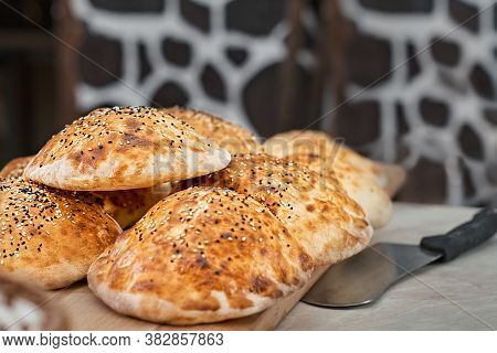 Turkish Bun, Tombik For Making A Traditional Duner (tombik Doner), Oriental Fast Food. Tombic With S