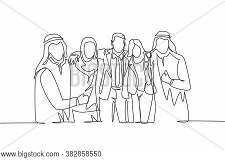 One Continuous Line Drawing Of Young Male And Female Muslim Businesspeople Embracing Shoulder Each O