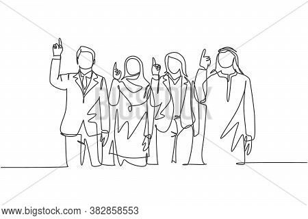 One Continuous Line Drawing Of Young Male And Female Muslim Managers Pointing Finger To The Sky, Bel