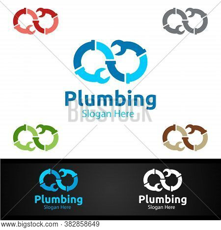 Infinity Plumbing Logo With Water And Fix Home Concept