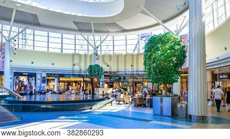 Katowice. Poland 8 August 2020. Shopping Mall Interior In Silesia City Center. People Shopping In Mo