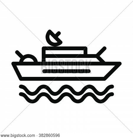 Logo Or Symbol Of Warship Icon With Black Line Style