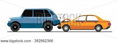 Traffic Collision, Traffic Accident With Damaged Vehicles Vector