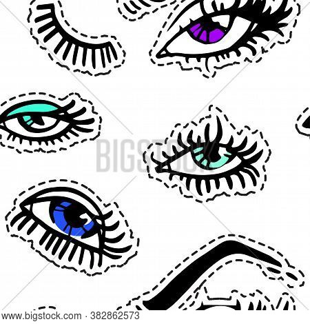 Female Eyes, Eyelashes And Brows Seamless Pattern Vector