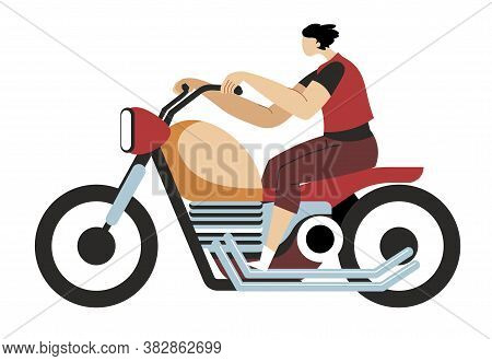 Man Driving Motorcycle, Motorcyclist Riding Transport On Road