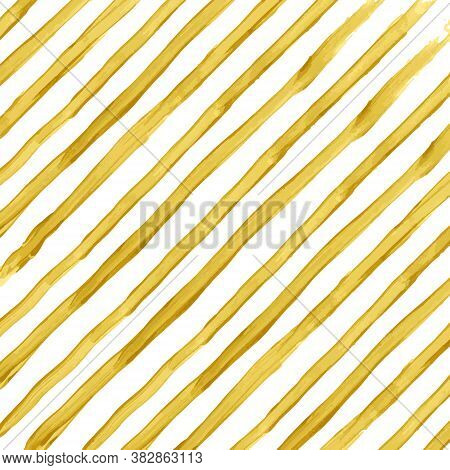 Golden Watercolor Vector Striped Background. Hand Drawing Texture. Abstract Illustration, Wedding Ba