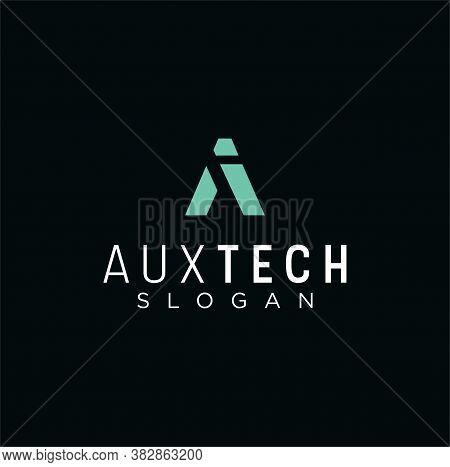 A Tech Logo Abstract Design Vector Template Linear Style. Initial A Tech Logo Business. Alphabet A L