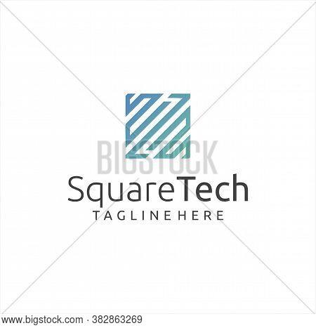 Square Tech Logo Design Stock Vector. Cube Tech Logo Line Design Icon. Box Tech Logo Technology Digi