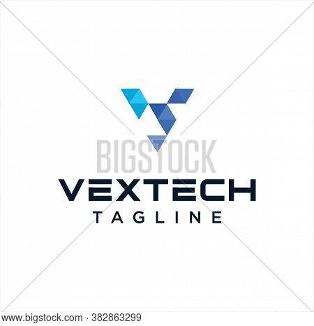 Abstract Letter V Tech Logo Polygon Colorful Design Vector Stock Template. Modern Initial V Logo Des