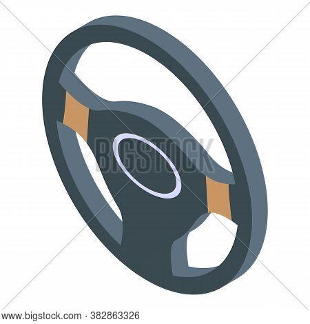 Driving School Steering Wheel Icon. Isometric Of Driving School Steering Wheel Vector Icon For Web D