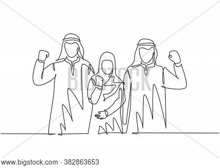 One Single Line Drawing Of Young Happy Male And Female Muslim Employees Raising Hands To Celebrate J