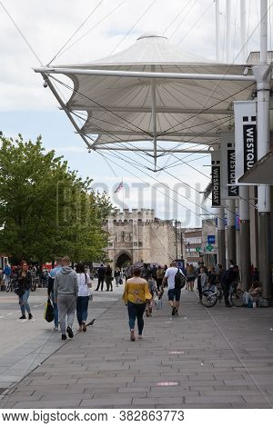 Views Of The City Of Southampton With Bargate And High Street Shopping In Hampshire In The Uk, Taken