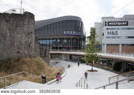 Views Of The Old Town Wall And Westquay Shopping Centre In Southampton, Hampshire In The Uk, Taken O