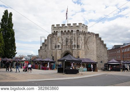 Bargate In Southampton With Market Stalls And Shoppers In The Uk, Taken On The 10th July 2020