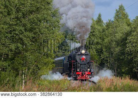 Ruskeala, Russia - August 15, 2020: Retro Train