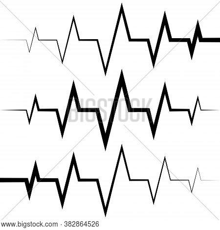 Sine Wave Icon Heart Rate Pulse Icon Medicine Logo, Vector Heartbeat Heart Rate Icon, Audio Sound Ra