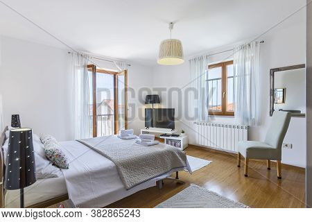Double Bed Modern Bedroom Interior, Corner View