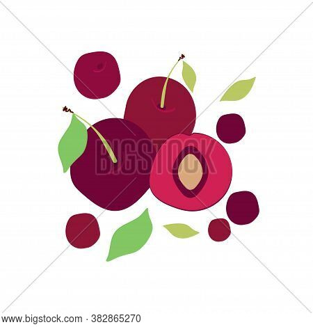 Illustration With Ripe Cherries. Berries Cherries With Leaves. Modern Abstract Design For Background
