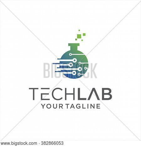 Tech Lab Logo Design Vector Stock. Science Laboratory Logo Template. Digital Chemistry Labs Logo Ico