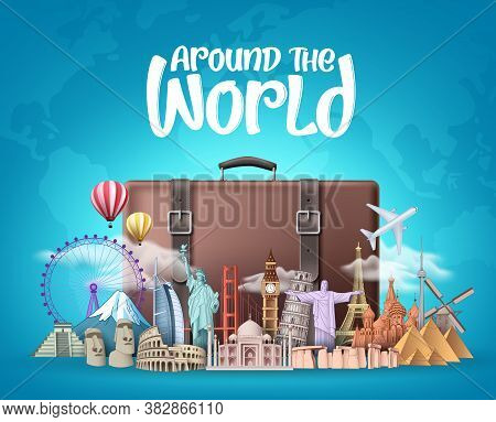 Travel Around The World Vector Design. Travelling Suitcase Bag And Famous Landmarks Around The World