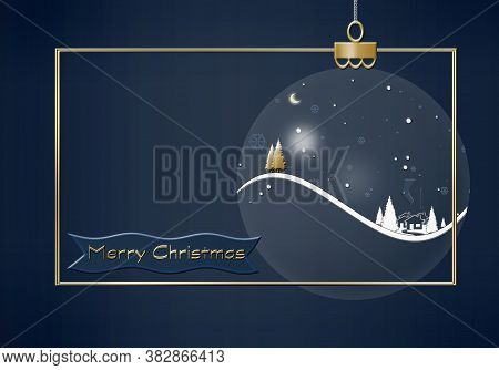 Hanging Christmas Ball Made Of Winter Night Landscape With Snowflakes, Houses, Firs, Gold Christmas