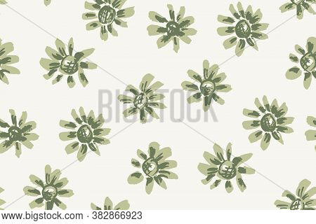 Simple Daisy Ink Details Seamless Vector Pattern. Daisies In Light Green With Details In Ink Over Wh
