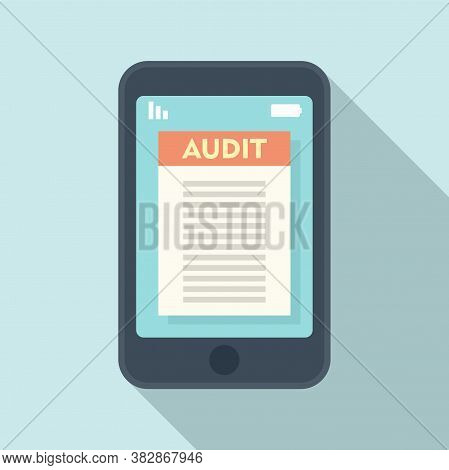 Smartphone Audit Icon. Flat Illustration Of Smartphone Audit Vector Icon For Web Design