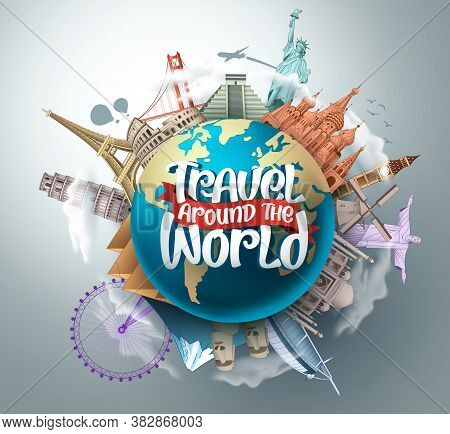 Travel Around The World Vector Landmarks Design. Travel In Famous Tourism Landmarks And World Attrac