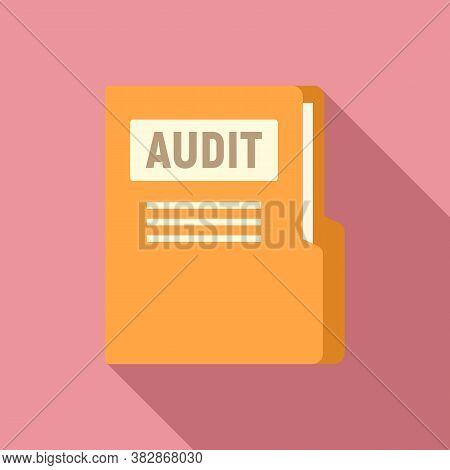Audit Company Folder Icon. Flat Illustration Of Audit Company Folder Vector Icon For Web Design