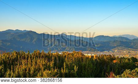 Sunlight Over The Mountain At Shimizu Industrial Port Over Blue Sky In The Twilight Time At Nihondai