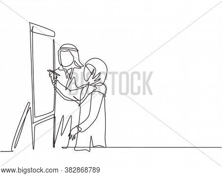 One Continuous Line Drawing Of Young Male And Female Muslim Worker Preparing Material For Presentati