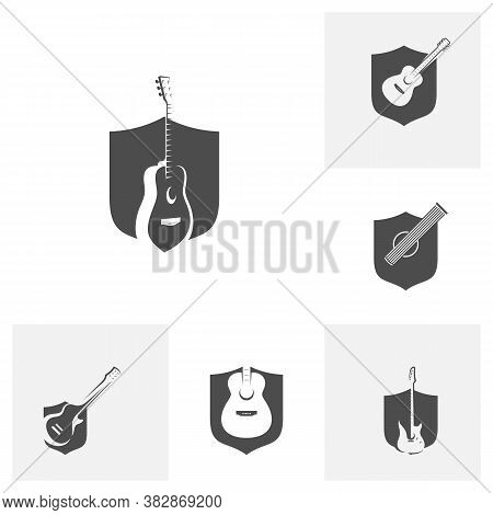 Set Of Shield Guitar Design Vector Template. Simple Set Of Electric Guitar Vector Icons