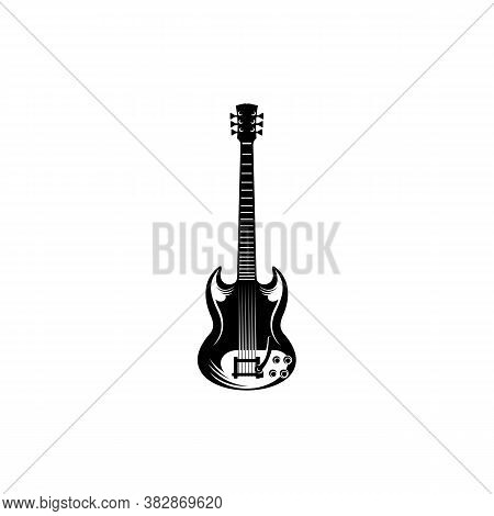 Electric Guitar Design Vector Template. Simple Set Of Electric Guitar Vector Icons