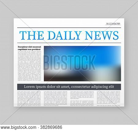 Vector Mock Up Of A Blank Daily Newspaper. Fully Editable Whole Newspaper In Clipping Mask. Vector S