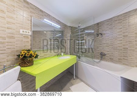Modern And Luxury Bathroom Interior, Side View