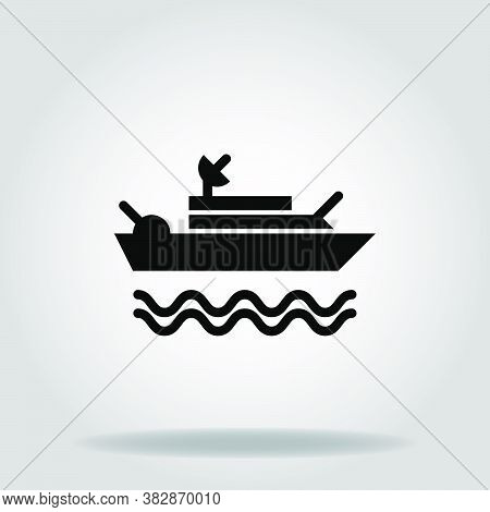Logo Or Symbol Of Warship Icon With Black Fill Style