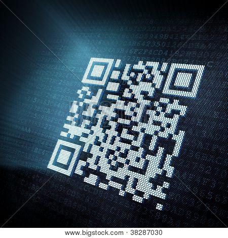Pixeled QR code illustration on digital screen