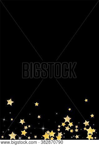 Gold Twinkle Stars Vector Black Background. Effect Star Border. Rain Wallpaper. Yellow Falling Glow